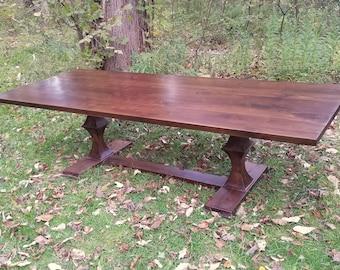 Large Walnut Dining Table with Custom Base