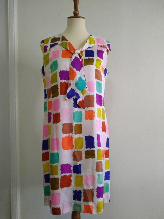 Vintage color block pattern dress Sleeveless 1970s