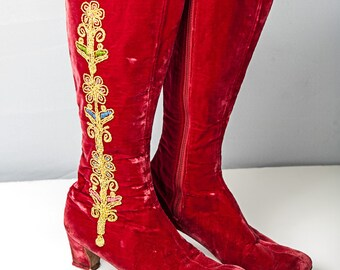 Bohemian Vintage 60's Red Velvet Embroidered Go-Go Boots Size 8AA