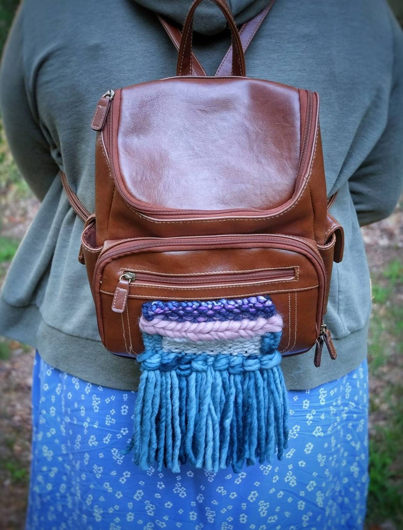 Brown backpackPut a Weave on it faux leather mini backpack small weave thrifted upcycled fiber art hip accessory