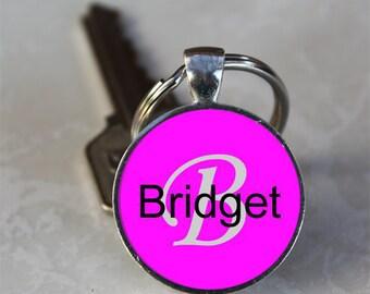 Bridget  Name Monogram Handcrafted Glass Dome Keychain (GDNKC0373)