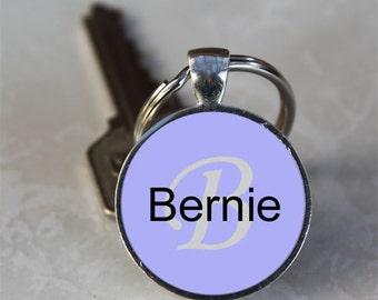 Bernie Name Monogram Handcrafted Glass Dome Keychain (GDKC0321)