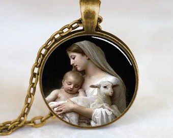 Nativity Pendant Virgin Mary Jesus and Lamb , Spiritual Jewelry , Christmas Pendant , Religious Necklace , Bronze (PD0536)