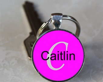 Caitlin Name Monogram Handcrafted Glass Dome Keychain (GDNKC0503)