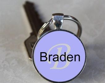 Braden Name Monogram Handcrafted Glass Dome Keychain (GDNKC0351)