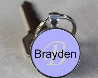 Brayden Name Monogram Handcrafted Glass Dome Keychain (GDNKC0360)