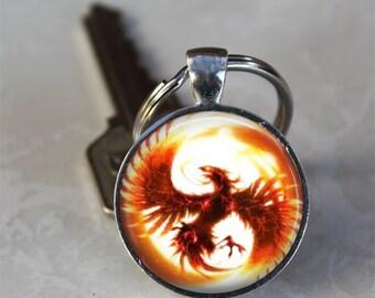 Phoenix Firebird Photo Glass Dome Keychain (GDKC0127)