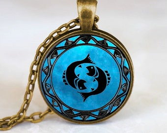 Pisces Pendant, Pisces Necklace, Pisces Jewelry, Pisces Charm Bronze (PD0344)