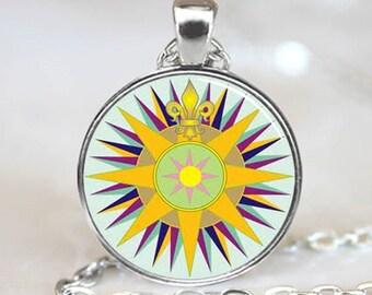 Fleur de Lis Compass Necklace Pendant (PD0175)