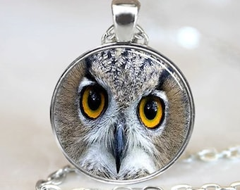 Owl  Pendant,  Photo Necklace, Silver Plated,  (PD0294)