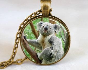 Koala Pendant, Koala Necklace, Koala Jewelry, Koala Charm, Bronze (PD0230)
