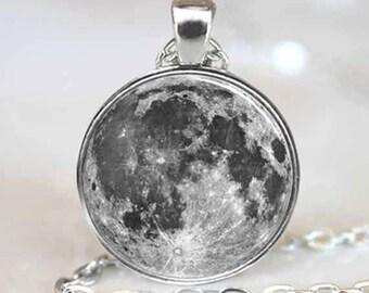 Joyería de luna llena colgante, collar de luna llena, luna llena, luna llena encanto plata (PD0196)