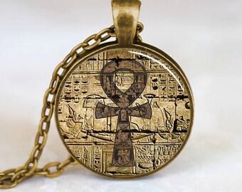 Egyptian Necklace, Egyptian Ankh Pendant, Eternal Life pendant, Egyptian Jewelry, Bronze (PD0287)