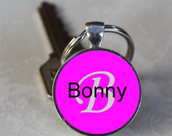 Bonny Name Monogram Handcrafted Glass Dome Keychain (GDNKC0347)