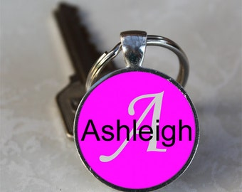 Ashleigh Name Monogram Handcrafted Glass Dome Keychain (GDKC0110)