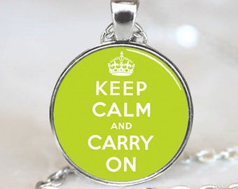 Keep Calm And Carry On  Pendant, Green Charm With Necklace, Silver Plated,  (PD0242)