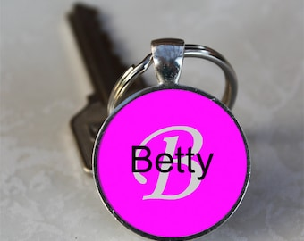 Betty Name Monogram Handcrafted Glass Dome Keychain (GDNKC0328)