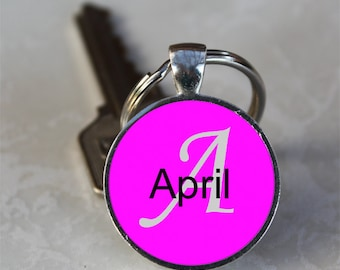 April Name Monogram Handcrafted Glass Dome Keychain (GDKC0090)