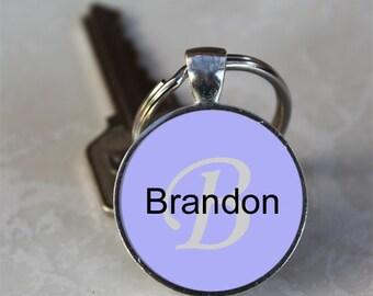 Brandon Name Monogram Handcrafted Glass Dome Keychain (GDNKC0356)