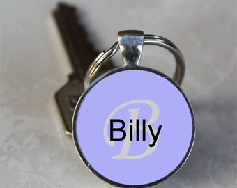 Billy Name Monogram Handcrafted Glass Dome Keychain (GDNKC0336)