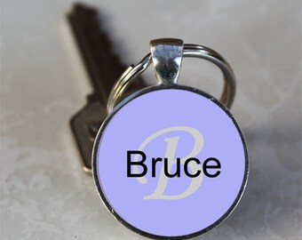 Bruce Name Monogram Handcrafted Glass Dome Keychain (GDNKC0381)