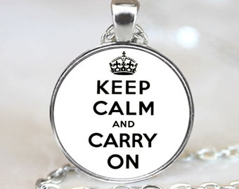 Keep Calm And Carry On  Pendant, White Charm With Necklace, Silver Plated (PD0850)