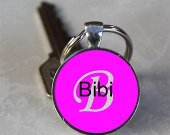Bibi Name Monogram Handcrafted Glass Dome Keychain (GDNKC0333)