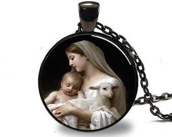 Nativity Pendant Virgin Mary Jesus and Lamb , Spiritual Jewelry , Christmas Pendant , Religious Necklace , Black (PD0536)