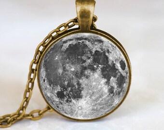 Joyería de luna llena colgante, collar de luna llena, luna llena, luna llena encanto bronce (PD0196)