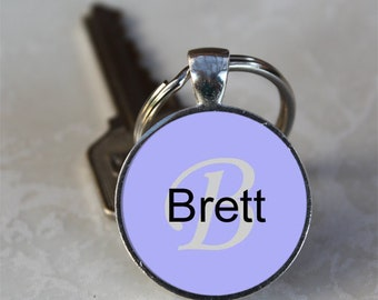 Brett Name Monogram Handcrafted Glass Dome Keychain (GDNKC0369)