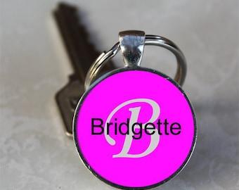 Bridgette Name Monogram Handcrafted Glass Dome Keychain (GDNKC0374)
