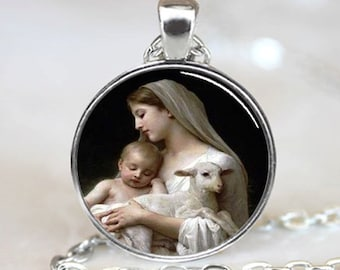 Nativity Pendant Virgin Mary Jesus and Lamb , Spiritual Jewelry , Christmas Pendant , Religious Necklace , Silver (PD0536)