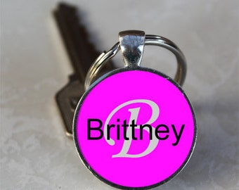 Brittney Name Monogram Handcrafted Glass Dome Keychain (GDNKC0378)