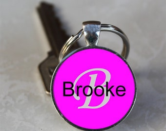 Brooke Name Monogram Handcrafted Glass Dome Keychain (GDNKC0379)