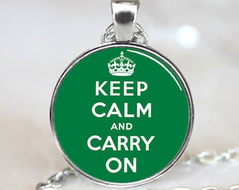 Keep Calm And Carry On  Pendant, Green Charm With Necklace, Silver Plated, (PD0240)