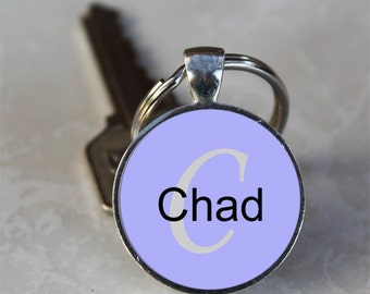 Chad Name Monogram Handcrafted Glass Dome Keychain (GDNKC0543)