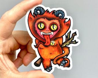 Krampus sticker, cute krampus vinyl sticker, laptop krampus decal, devil die cut vinyl sticker, krampus scrapbook decal, cute demon art