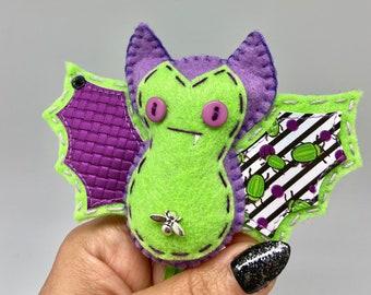 Purple beetle bat felt ornament, Halloween bat decor, felt decor bat, hanging vampire bat, wildlife rescue, bat fang, textile bat doll.