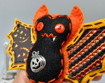 Pumpkin bat felt ornament, orange Halloween bat decor, felt decor bat, hanging vampire bat, wildlife rescue, bat fang, textile bat