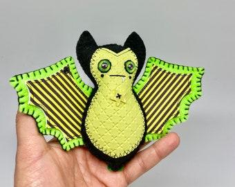 Green striped felt bat, green felt bat ornament, hanging bat decoration