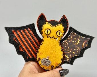 Orange pumpkin bat, Halloween felt bat, green felt bat ornament, hanging bat decoration