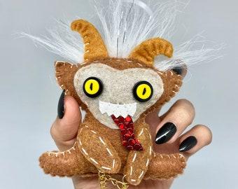 Brown Krampus doll ornament, Gruss vom Krampus, merry Yule, creepy christmas, krampus jingle bell, pagan ornament, wicca christmas decor.