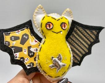 Yellow ghost bat, Halloween felt bat, green felt bat ornament, hanging bat decoration