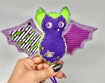 Green Halloween felt bat, green felt bat ornament, hanging bat decoration