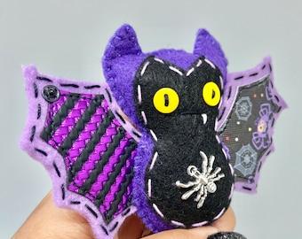Creepy spider bat felt ornament, purple Halloween bat decor, felt decor bat, hanging vampire bat, wildlife rescue, bat fang, textile bat