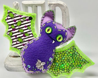 Purple Halloween felt bat, green felt bat ornament, hanging bat decoration