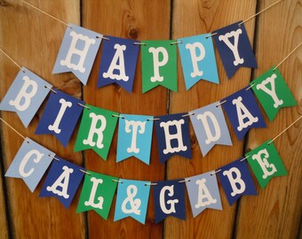 Happy Birthday Banner - Boys Happy Birthday Banner, Blue And Green Birthday Banner, Can Be Personalized With Name