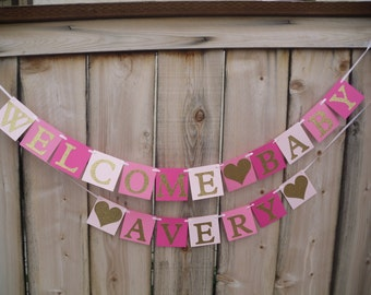 Pink Ombre And Gold Glitter Welcome Baby Banner - Can Be Personalized With Name, Baby Shower Banner, Welcome Baby Banner