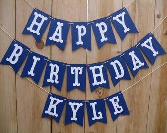 Happy Birthday Banner - Boys Happy Birthday Banner, Blue Birthday Banner, Navy Blue Banner, Can Be Personalized With Name