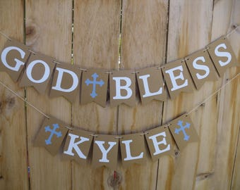 God Bless Banner - Banner For Christening, Baptism, First Communion - Can Be Made For Girl Or Boy - Personalize With Name And Color Of Cross